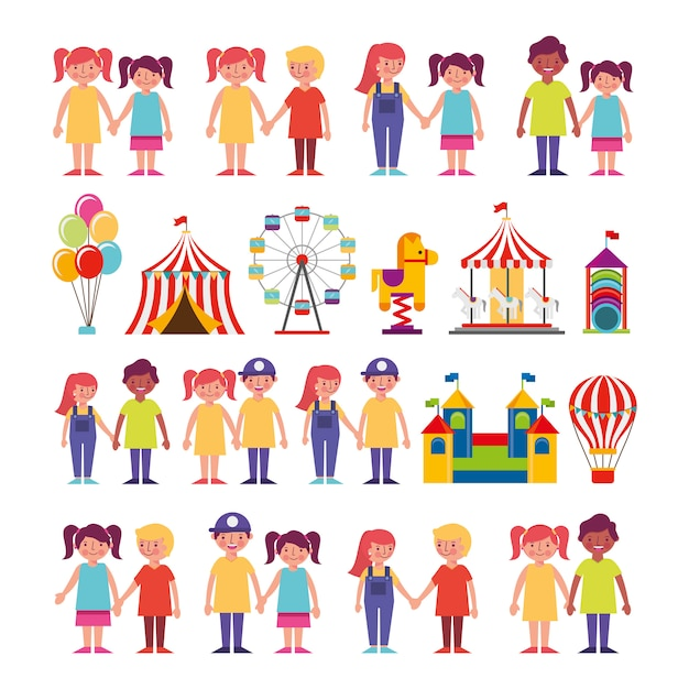 Group of kids and amusement park bundle characters Free Vector