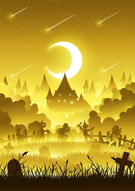 A group of kids are running happily on halloween night Premium Vector