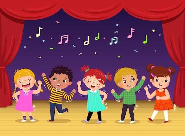 Group of kids dancing and singing a song on the stage. children's performance. Premium Vector