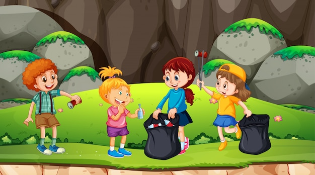 Group of kids picking up rubbish Free Vector