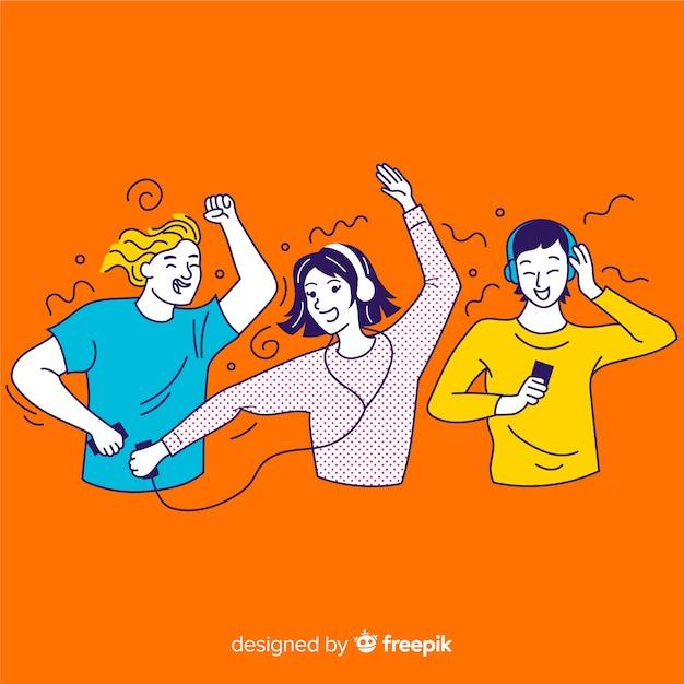 Group of korean teenagers enjoying music Free Vector