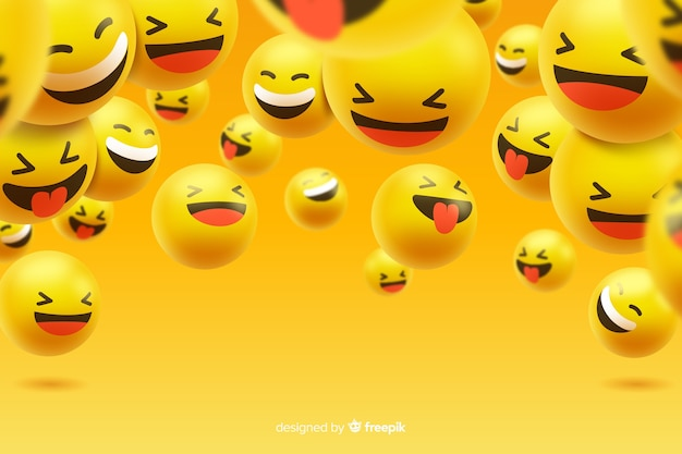 Group of laughing emoji characters Free Vector