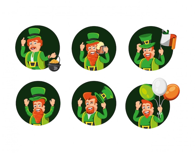 Group leprechauns and set Premium Vector