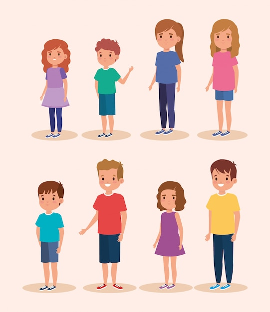 Group of little children avatar character Free Vector