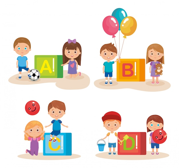 Group of little kids playing with blocks Free Vector