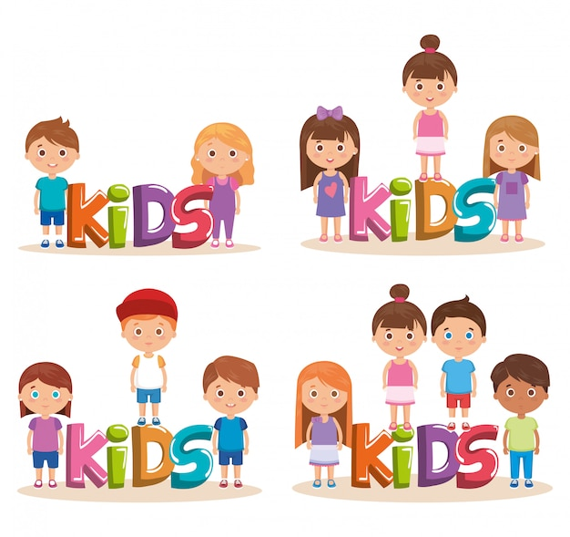 Group of little kids playing with word Free Vector