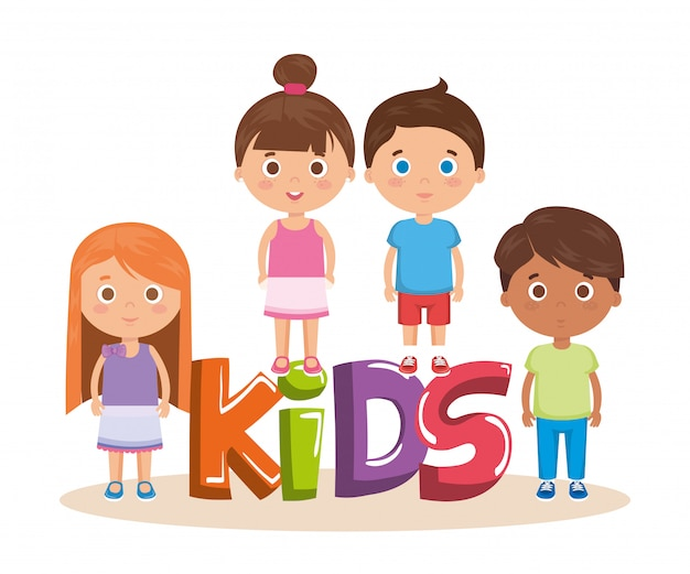 Group of little kids with word characters Free Vector