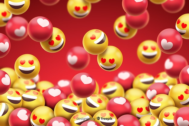 Group of love smiley emoticons Free Vector