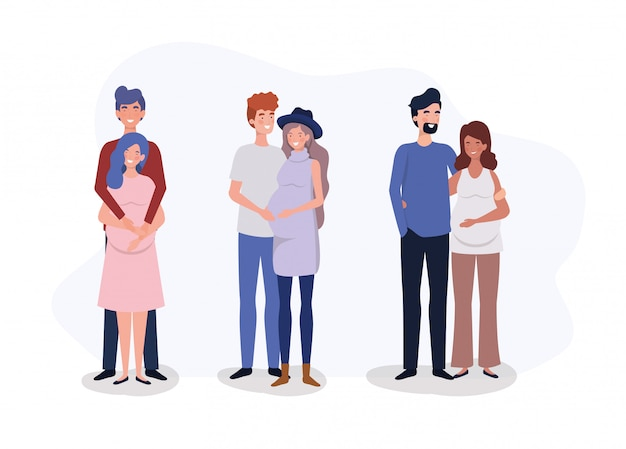 Group of lovers couples pregnancy characters Free Vector
