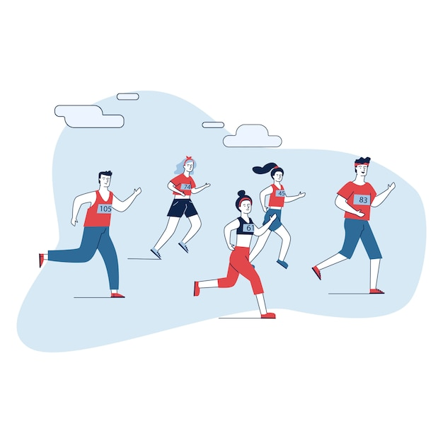 Group of male and female sportsmen running marathon Free Vector