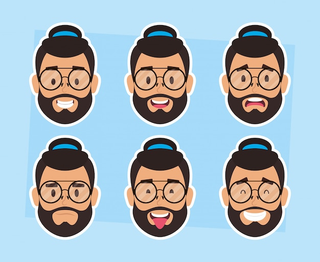 Group of man faces bearded with hat and glasses Premium Vector