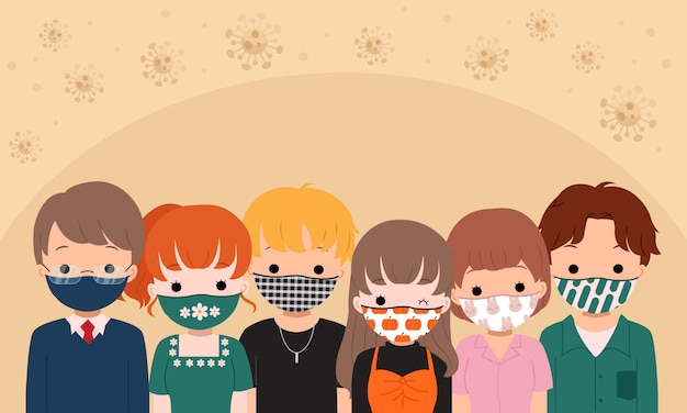 Group of man and woman wearing patterned cloth mask for coronavirus new normal. stay safe by wearing mask. flat vector design. Premium Vector