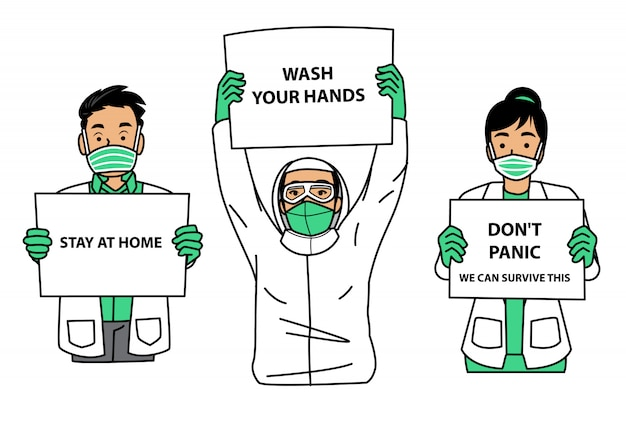 Group of medical workers holding sign during pandemic Premium Vector