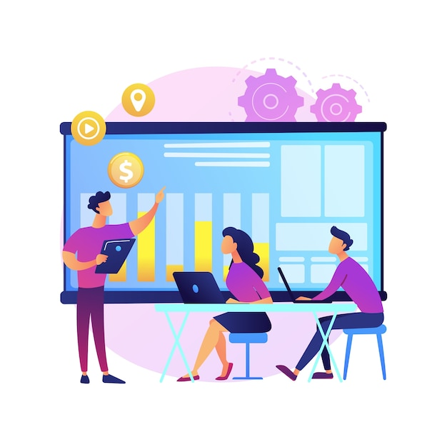 Group meeting. corporate collaboration. colleagues on office. strategy planning, conference discussion, table brainstorming. startup organization.  isolated concept metaphor illustration. Free Vector