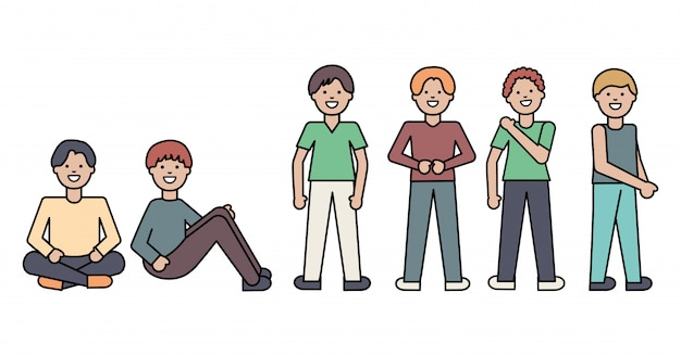Group of men avatars characters Free Vector