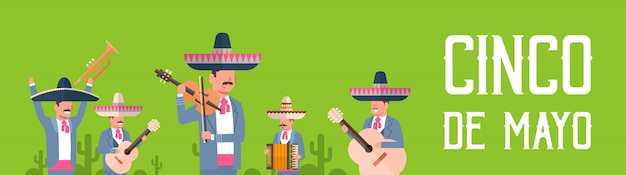 Group of mexican musicians in traditional clothes with sombrero and maracas Premium Vector