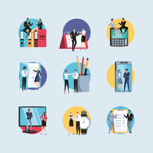Group of mini business people with supplies office in workplace Premium Vector