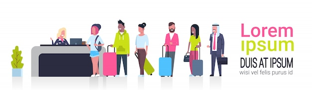 Group of mix race passengers standing in queue to counter check in airport template banner with copy space, departures board concept Premium Vector