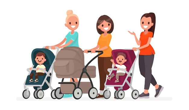 Group of moms communicate and ride toddlers in prams. walk of young mothers with children. in flat style Premium Vector