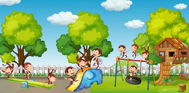 A group of money playing at playground Premium Vector