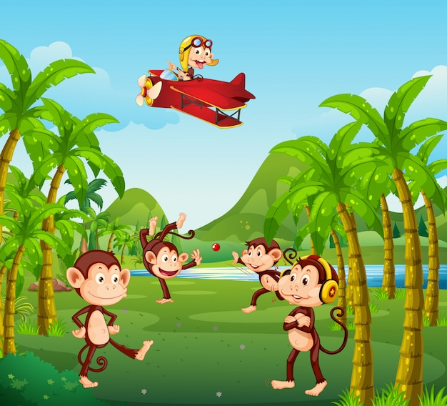 A group of monkey in jungle Premium Vector