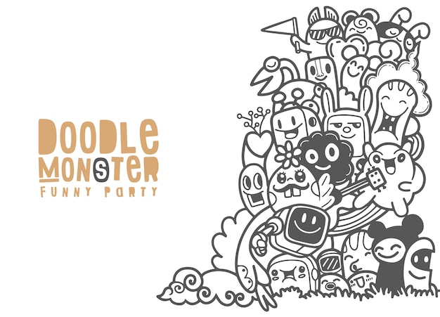 Group of  monster for your design. template for advertising brochure. funny doodle Premium Vector
