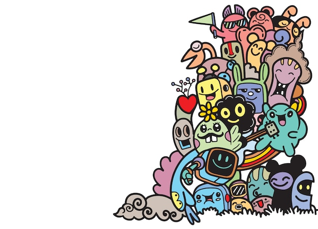 Group of  monster for your design Premium Vector