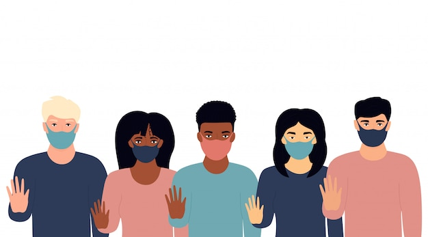A group of multiethnic people show stop gesture. protest against racism, violence, discrimination. fight for rights Premium Vector