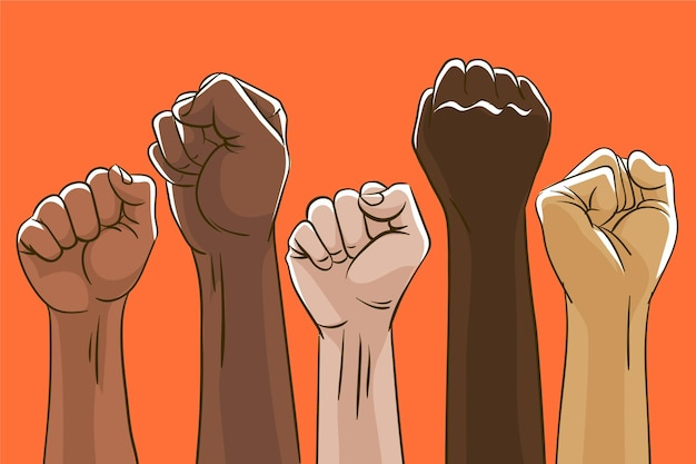 Group of multiracial raised fists together Premium Vector