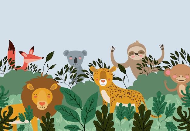 Группа животных на лесной сцене Premium векторы