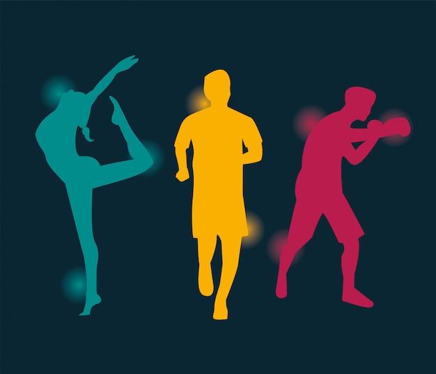 스포츠 실루엣 벡터 일러스트 디자인을 연습하는 운동 사람들의 그룹 프리미엄 벡터