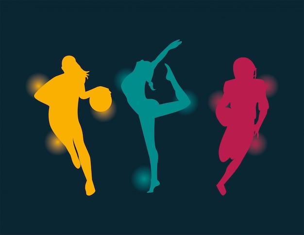 Группа спортивных людей, занимающихся спортом силуэты векторный дизайн иллюстрации Premium векторы