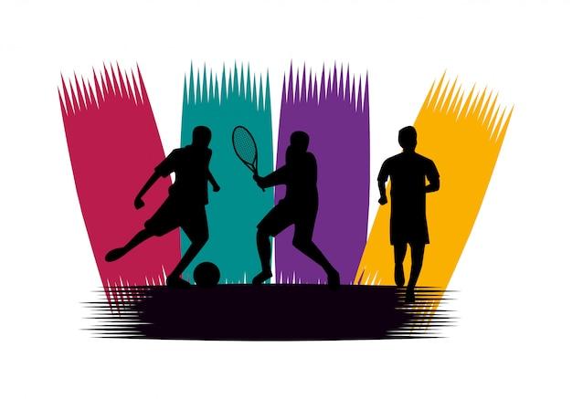 スポーツシルエットを練習する運動の人々のグループ Premiumベクター