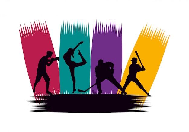 Группа спортивных людей, практикующих спортивные силуэты Premium векторы