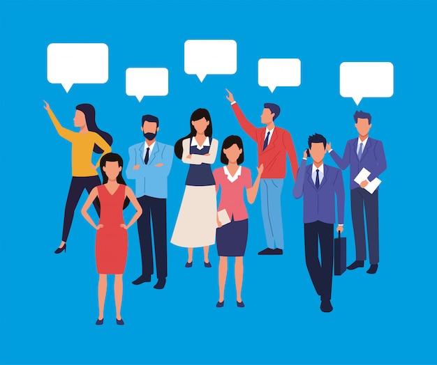 スピーチの泡文字とビジネス人々のチームワークのグループ Premiumベクター