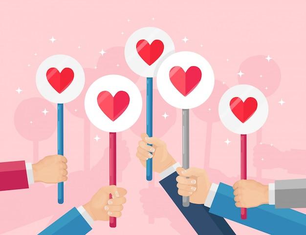 Группа деловых людей с красным сердечным плакатом. социальные сети, сети. хорошее мнение. отзывы, отзывы, отзывы клиентов, как концепция. день святого валентина. плоский дизайн Premium векторы