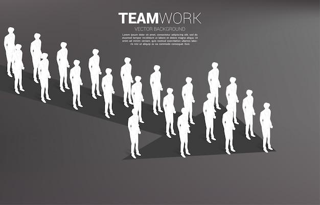 Группа в составе бизнесмен стоя совместно стрелка формы. бизнес-концепция для миссии компании и совместной работы. Premium векторы
