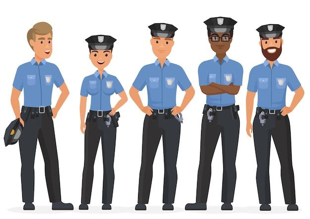 漫画のセキュリティ警察官のグループ。女性と男性の警察警官のキャラクター Premiumベクター