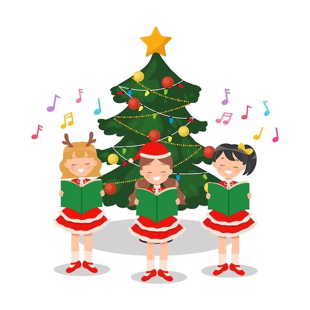 Группа детей, поющих рождественские гимны перед украшенной елкой. плоский мультипликационный персонаж, изолированные на белом. Premium векторы