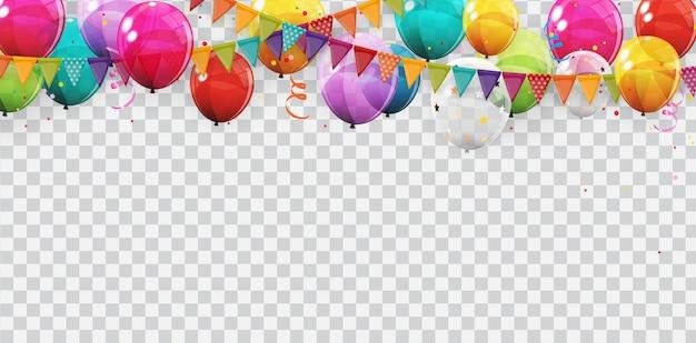 색상 광택 헬륨 풍선 배경 그룹입니다. 생일, 기념일, 축하 파티 장식을위한 풍선 세트. 프리미엄 벡터