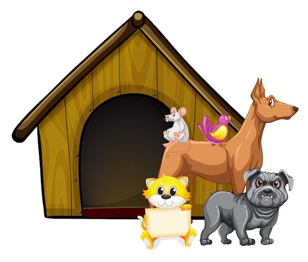 犬小屋の漫画のキャラクターのかわいい動物のグループ 無料ベクター
