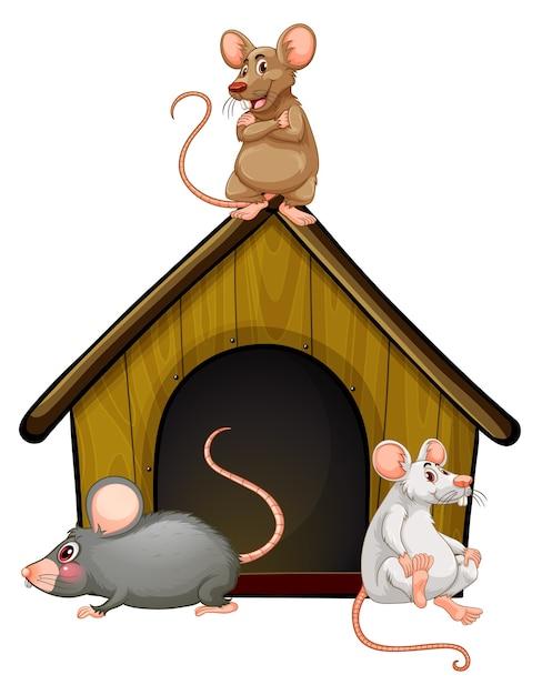 Группа милых мышей с домиком на белом фоне Бесплатные векторы