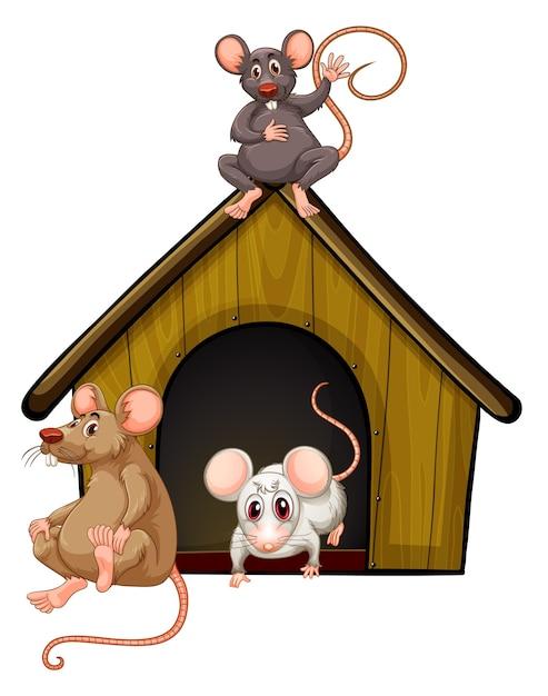 Группа милых мышей с домиком, изолированным на белом Premium векторы