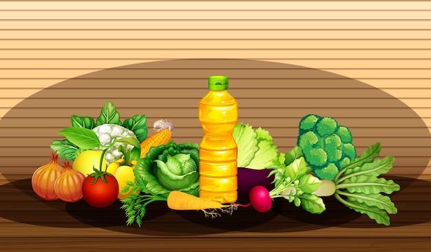 異なる野菜と木製の壁の背景に油のボトルのグループ 無料ベクター