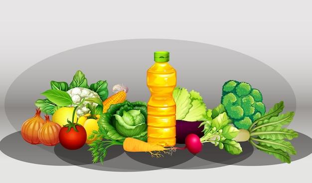 Группа разных овощей и бутылка масла Premium векторы