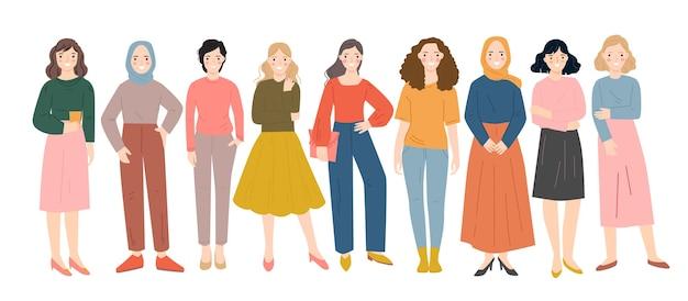 Группа разнообразных людей, стоящих вместе векторной плоской иллюстрации. счастливые люди персонажи. Premium векторы