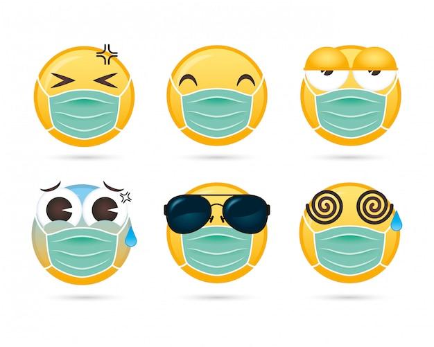 医療マスク面白い文字を使用して顔の顔のグループ Premiumベクター