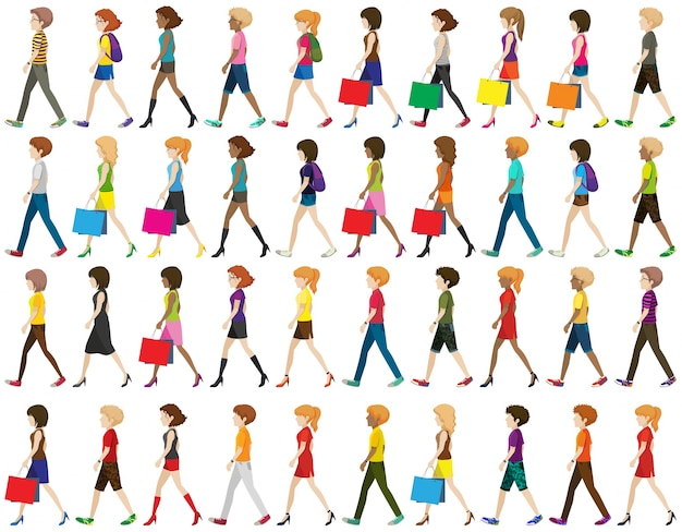 Group of faceless people walking on a white background Free Vector