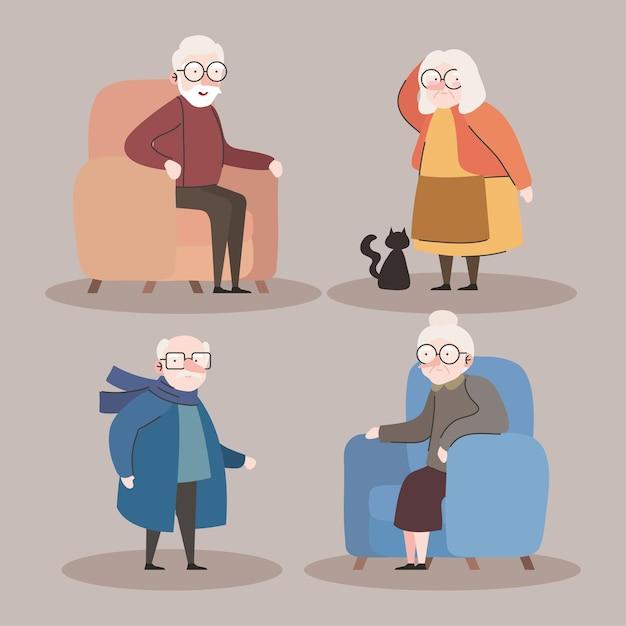 소파 문자 벡터 일러스트 디자인에 앉아 네 조부모의 그룹 프리미엄 벡터