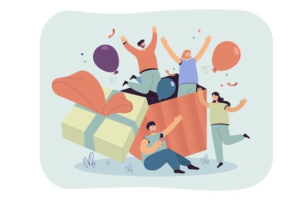 색종이와 풍선 선물 상자 밖으로 점프 생일을 축하하는 친구의 그룹입니다. 만화 그림 무료 벡터